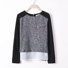 Blusas Femininas 2014 Shirts Mulheres Chiffon Blusas Costura de trabalho visto o preto manga comprida Zipper Dividir Divisão Plus Size Tops