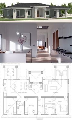 37 New Ideas For House Plans Modern Farmhouse Small House Layout Plans, Family House Plans, Dream House Plans, House Layouts, Small House Plans, House Floor Plans, Bungalow House Design, Small House Design, Cool House Designs
