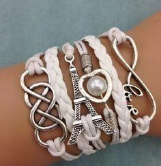 Leather White Wrap Wristband Cuff Infinity Charm Bracelet Bangle Love Pearl 17 #Handmade #Friendship