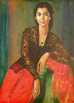 artist ĀBasuki Abdullah (b1915, Sriwedari, Surakarta, Indonesia) ~ Wanita Berkebaya Hitam Kain Merah