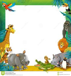 Cartoon Safari - Jungle - Frame Border Template - Illustration For The Children…