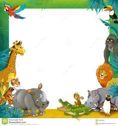 Cartoon Safari - Jungle - Frame Border Template - Illustration For The Children…