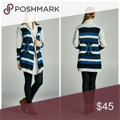 Pop Of Color Cardigan Try this Aztec print cardigan, perfect for fall, and stand out with the pretty pop of color navy blue . A very unique and stylish cardigan to complete any outfit.   Price firm.   No trades.  No holds. No modeling. (So sorry but thanks for understanding)   Bundles of 2 = 5% off  Bundles of 3 = 10% off Sweaters Cardigans