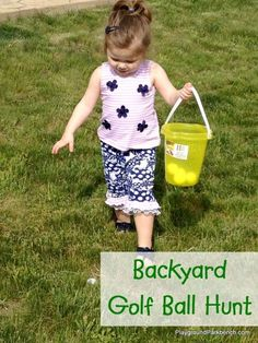 The perfect backyard game for kids - Golf Ball Hunt! The hunts don't have to end with Easter - and both kids and adults will find enjoyment with this simple activity. All you need is golf balls and a bucket!