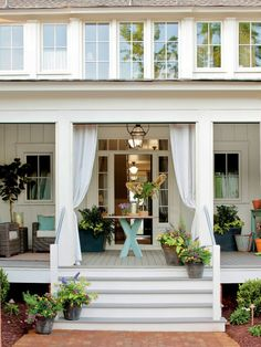 Love the curtains.back porch idea? Back Porch - Farmhouse Restoration Idea House Tour - Southern Living Design Patio, Design Exterior, Design Room, Exterior Paint, Outdoor Rooms, Outdoor Living, Outdoor Curtains, Outdoor Furniture, Front Porch Curtains