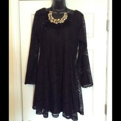 "Sassy black lace mini dress no trades B38"" L35.5"" Perfect  fit for a size 16 or DD bust due to lots of give. The lace lining is black and provides full coverage.  Add on a pair of shoes for a date night discount of 20% Dresses Mini"