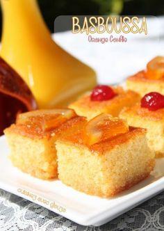 Basboussa gateau de semoule à l'orange confite Voici une autre version du Basboussa, gâteau de semoule que j'aime préparer avec des oranges confites,