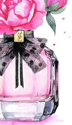 Perfume bottle with peonies. Saint Laurent Paris, Perfume Yves Saint Laurent, Fashion Illustration Tutorial, Fashion Illustration Face, Watercolor Fashion, Watercolor Print, Bottle Drawing, Parfum Chanel, Paris Perfume