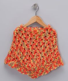 Take a look at this Orange Crocheted Poncho - Toddler & Girls by Peace of Cake on #zulily today!