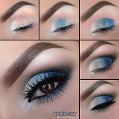 Eye Makeup Steps, Makeup Eye Looks, Blue Eye Makeup, Smokey Eye Makeup, Makeup For Brown Eyes, Makeup Eyeshadow, Blue Smokey Eye, Smoky Eye, Blue Eye Shadow