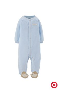 The Just One You made by Carter's monkey sleep 'n play is comfy for all-day play. Super soft and cozy, it has sweet little monkey-face footies to keep those little tootsies warm. Plus, it has front snaps for quick and easy changes.