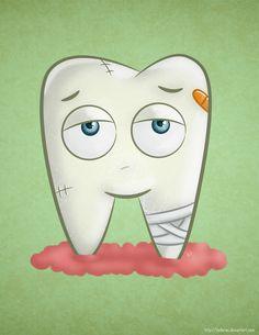 Cartoon Sick Tooth /// Diente enfermo de caricatura