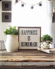 Wood sign, cute vignette, farmhouse decor *** You can find more details by visiting the image link. Homemade Home Decor, Diy Home Decor, Homemade Signs, Home Decor Signs, Farmhouse Signs, Farmhouse Decor, Farmhouse Kitchens, Farmhouse Style, Blue And Green