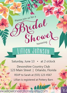 Tropical bridal shower invitation island flowers hawaiian luau tropical themed bridal shower invitations ideas filmwisefo