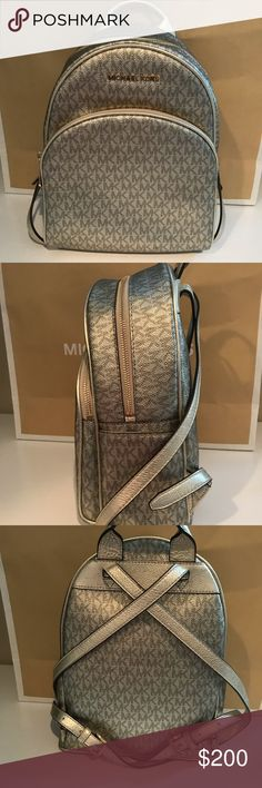 4c8bd87ffc8e NWT Michael Kors Gold Backpack Authentic