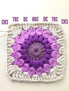 Crochet Granny Squares Blanket AnnieColors: Sunburst Granny Square Pattern, thanks so xox Point Granny Au Crochet, Granny Square Pattern Free, Crochet Motifs, Granny Square Crochet Pattern, Crochet Squares, Crochet Afghans, Free Pattern, Crochet Blocks, Granny Square Tutorial