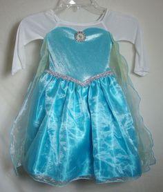 Disney Store Elsa Costume Cape 2T Frozen Movie Blue Sparkle Dress Toddler SZ 2  #Disney #Dress