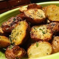 Roasted New Red Potatoes- i mix all in a bowl with olive oil, minced garlic, parsley and pink salt- ER