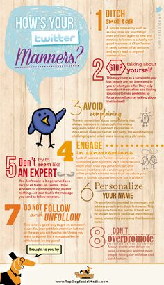 """This pin links to a page with an infograph and some further exploration into what the infograph introduces. It is titled """"How's Your Twitter Manners"""", and explores some concepts regarding how you should speak on Twitter.  The advice mostly focuses on sending the right kind of message and meaning to your followers.  Of course, you need to know your audience and their needs and wants, but it's still a great chart to check out!"""