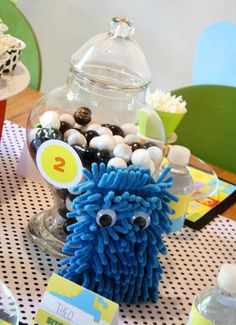 [Boy Bash] Monster Birthday Party Tablescape - Carwash sponge from the dollar store as a monster - Spaceships and Laser Beams