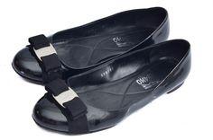Salvatore Ferragamo Varina Black Patent Leather Flats 8.5