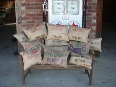 Hand made cushions made by me using old style hessian/burlap potato/walnut bags
