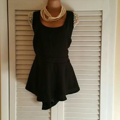 Pemplum and pearl blouse Black Pemplum blouse with pear capped sleeves city chic Tops Blouses