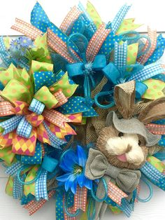 Easter Wreath, Bunny Wreath, Easter Bunny Wreath, Deco Mesh Wreath,Easter Door Decor, Easter door wreath, Wreath for Easter, Blue Wreath Hippity, Hoppity Easter's On Its Way! Just imagine how beautiful your door will be this Easter Season with this gorgeous Easter wreath hanging