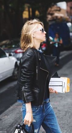 #street #style / leather + denim