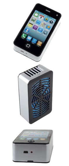 This iPhone look-alike is actually a mini air conditioner. Great for the office! #technology #office #gadgets