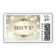 Stylish Gold Glitter Sparkles Wedding RSVP Postage Stamps
