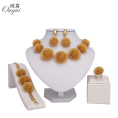 Top Offers $10.40, Buy 2017 Fashion Dubai Jewelry Sets Bridal Gift Nigerian wedding accessories big african Gold-color jewelry set Wholesale design