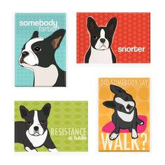 Pop Doggie Boston Terrier Refrigerator Magnets with Funny Sayings
