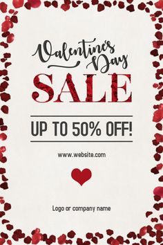 Valentineu0027s Day Sale Poster Template. Click To Customize.