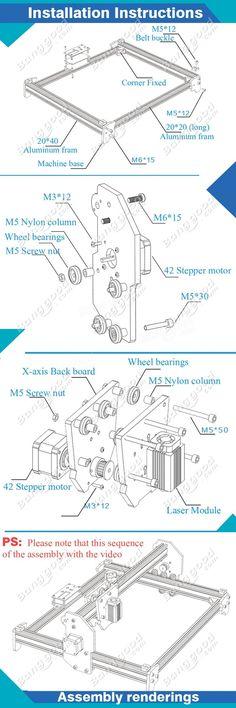 2500mW A3 30x40cm Desktop DIY Violet Laser Engraver Picture CNC Printer Assembling Kits Sale - Banggood.com                                                                                                                                                                                 Más