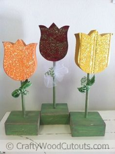 Standing Flower Wood Craft Ideas