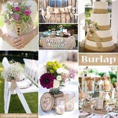 Burlap Wedding Decorations #exclusivelyweddings | All of our color stories can be found here: http://pinterest.com/exclusivelywed/wedding-color-stories/
