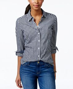 Tommy Hilfiger Gingham Shirt - Tops - Women - Macy's