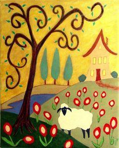 sheep folk art paintings - Bing Images