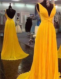 High Quality Prom Dress,Chiffon Prom Dress,Pleat Prom Dress,Backless Prom Dress,V-Neck Prom Dress