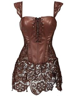 X 4 Style Steampunk Faux Leather Lace up Steel Boned Bustier Top Corset Overbust Black Brocade Size S M L - alishoppbrasil Steampunk Mode, Style Steampunk, Steampunk Fashion, Leather Bustier, Faux Leather Dress, Leather And Lace, Brown Leather, Leather Fabric, Leather Material
