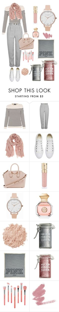 """""""Airport Life #2"""" by missnidy on Polyvore featuring Saint James, Topshop, Mint Velvet, Converse, Givenchy, Smith & Cult, Olivia Burton, Tory Burch, La Mer and Major Moonshine"""