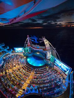 Oasis of the Seas | Nightlife. Grab a seat at the Aqua Theater for some edge-of-your-seat performances as divers plunge from sky-high diving boards into the pool below. For some of your own aquatic adventures, slide 10 stories down into the Ultimate Abyss. It's nothing but adventure when you cruise onboard Royal Caribbean's Oasis of the Seas.