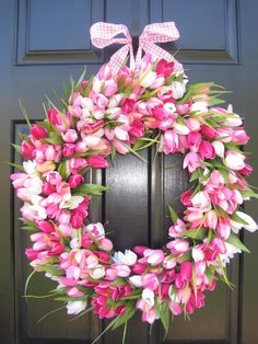 This is the million dollar fresh tulip wreath.  Or, of course, you can make it for less with good quality silks.