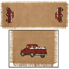 """New Primitive Country VINTAGE RED TRUCK SHEEP BURLAP FEED SACK Table Runner 36"""" #YHD Vintage Red Truck, Feed Sacks, Primitive Country, Vintage Country, Table Runners, Sheep, Burlap, Rugs, Home Decor"""
