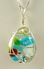 Wire-sculpted Glass Cabechon pendant: Mosaic/fused glass