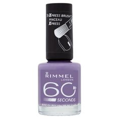 Rimmel 60 Seconds Nail Polish Out Of The Blue. Dries so fast, you can change your nail colour every day! Xpresstm brush for 1 second application. Dries in less than 60 seconds. Picture perfect nail colour in a flash! Nail Base Coat, Top Coat Nail Polish, Nail Polish Sets, Rimmel Nail Polish, America Nails, Nails Plus, Nail Designs Pictures, London Nails, Gel Polish Colors