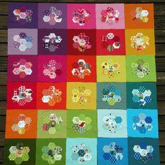 Rainbow hexagon quilt