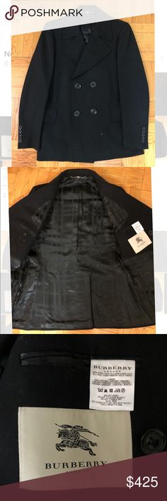 Burberry Pea Coat, Size 44 Like new black Burberry pea coat with black satin Burberry check interior lining. Only worn a few times and in 9/10 condition. The coat also has a metal hanging chain for everyday practicability! It is a Size 44, which fits more like a large. The oversized buttons on the front give this classic coat a modern and trendy touch for any closet. Burberry Jackets & Coats Pea Coats
