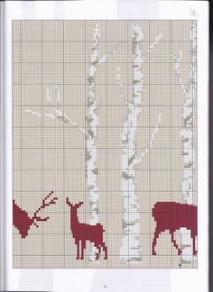 Deer silhouette & trees part 2 of 4 Xmas Cross Stitch, Cross Stitch Borders, Cross Stitch Animals, Cross Stitch Charts, Cross Stitch Designs, Cross Stitching, Cross Stitch Patterns, Blackwork Embroidery, Cross Stitch Embroidery
